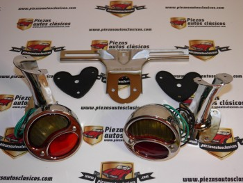 Kit de pilotos traseros cromados coche antiguo Ambar / Rojo