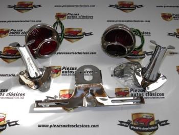 Kit de pilotos traseros cromados coche antiguo Rojo / Rojo